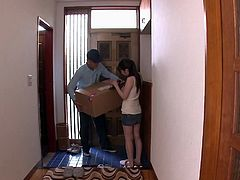 The bell rings and sexy Aiko rushes to open the door. She received a package and is looking in her wallet, to pay the courier. The man notices her boobs and can't help getting closer, to lick and squeeze them. Click to see the naughty Japanese lady sucking his cock on knees!