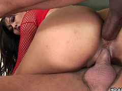Max is a sexy mature slut, who just can't get enough of sex. This time around, she decides to go with two men instead of one. These good looking men just can't keep themselves from getting a big hard on, when they see her in red fishnet stockings. She puts her stunning ass on one dick and gets her pussy hole ripped by another.