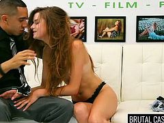 Rough sex wasn't exactly what this young lady had in mind, when she came to the casting... However, she'd do anything to get famous, so here she is, standing on the couch with legs widely spread and hands tied strongly. Watch this teen getting terribly mouth fucked by a horny guy!
