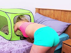 With her head in a tent, this blonde slut is bent over on the bed and fucked in her tight asshole. Her man rubs her hole to get her ready. Vinette moans so loudly, as she is plowed so hard by her man's huge cock.