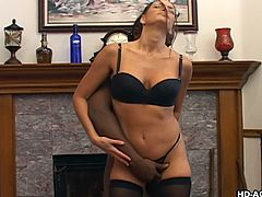 Cheyeene loves to suck on big cocks and it's even better, when those huge cocks are black. She strips down and drops to her knees, to put this huge dong in her mouth. She deepthroats it and fits as much of it, as she can in her mouth.