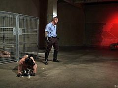 If this slave is going to act like a creature, then that is the way he is going to be treated. He isn't even good enough to be human. The unlucky slave is in the kennel with a tail butt plug in his ass, and he has to eat out of his dish on the floor, or else the master will spank him.