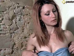 European young and skanky girl Thena takes off her stockings