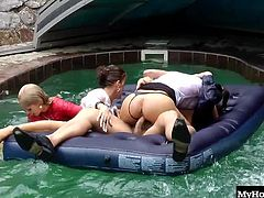 The partys host lies back on the pool float as another cockstarved honey climbs on his thick knob. Across the pool, three horny lesbians splash lustily in a warm spray that tickles their revved up clits. The pool mattress rocks and bounces as the host rises up to his knees to pound his dick deeper into his wet, moaning partner.