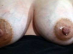 Wife's Engorged Lactating Breasts Slowly Leaking
