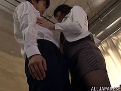 This sexy teacher invites her young student into the break room where she can play with his hard cock. She starts off by kissing him, and soon the milf teacher has a firm grip on his shaft. She loves to give sensual handjobs.