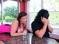 Sara Jay is happy to receive such a distinguished guest. When she sees the gorilla man in the doorway, the busty milf lets him in and invites him to take a seat. Click to watch the horny bitch showing her tits and crazy ass. Don't miss the inciting blowjob scene!