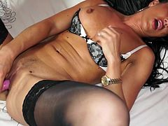 Horny British MILF playing with her pussy