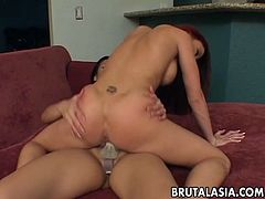 Nyomi Zen stuffed with big strapon in exciting lesbian sex clip featuring Brenda May