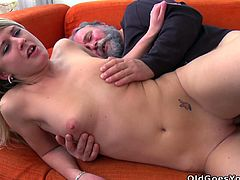 Slender blond haired chick gets nailed by ugly fat and bearded man
