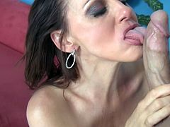 Dirty fishnet-clad cougar with long dark hair licking a stranger's asshole