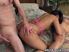 Steamy brunette babe Keymore Cash enjoys anal fuck in hardcore threesome action