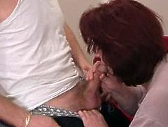 Big tits milf giving a thorough blowjob then riding a dong in an epic foursome