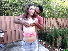 Molly loves to relax in her back yard. But this time she is not alone. She calls her boyfriend to join her and her boyfriend is real naughty. He gropes her boobs and squeezes them real hard. Molly returns the favor and sucks him with a lot of dedication.