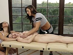 A busty milf enjoys a kinky oilly massage. Gracie seems very skillful and it's easy to relax, when she's around. Watch her using her magic hands, to squeeze the naked brunette's big wonderful tits. Don't miss the inciting details.