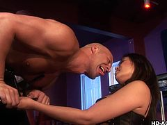 He is tied up and has a strap on shoved in his mouth by this sexy Asian slut. She makes him gag on her big plastic cock. Annie loves to tease her man. The hottie is gentle, when it comes to sliding her cock in his ass at first, but soon she gets rough and pounds him really hard, until he can't take it anymore.