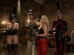 Your dominatrix demonstrates in the video very kinky domination in a dungeon-style setting. The slaves are women and they are bound, chained, and gagged, all in sexy leather outfits. For those who have the dominatrix fetish, either giving or receiving, Kink University shows you how to do it right.