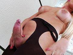She gets things started, by showing off her sweet asshole and this turns her man on so much, that he has to suck on her huge cock. Nicole tugs him off and sticks her balls in his face. She gives him a breathtaking blowjob, as a reward for pleasing her.