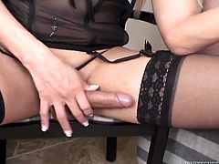 This hot Tranny knows how to get men to like her. She wears sexy garters and stockings, to attract men. Why not, after all she has the best body you have ever seen. Samantha makes sure Tom sucks her big dick, before she gives him any action. When she has played enough with him, she takes his penis in her mouth and sucks it like never before.