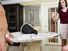 Sex hungry experienced MILF catches her cute step-daughter Cali Sparks sucking her boyfriends dick. She turns their love session into threesome and then it comes to deep hard pussy slamming.