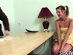 Delightsome old teacher is drilling lovely babe from behind