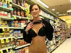 Hot Young Girlfriend Exposing Her Self at Grocery Store