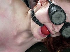 This redhead slutty babe has been captured by a horny man, who keeps her locked in his basement. She cannot leave, nor move, as she is trapped in a kinky bondage device, like a mouse in a cage. See her blindfolded and wearing a ball gag, while the merciless executor offers her painful pleasures...