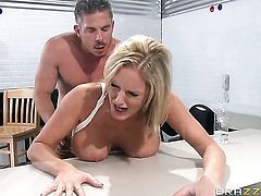 Mick Blue plays hide the salamy with Zoey Holiday with giant jugs in anal porn action