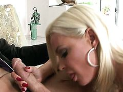 Diamond Foxxx with massive boobs and clean snatch gets her mouth stretched by beefy sturdy rod of horny bang buddy