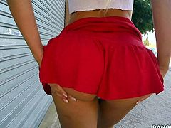 Blondie Fesser in beautiful red panties and red skirt exposes her perky ass and flashes her pretty pussy with no shame in the street. She loves flashing her naughty parts in public.