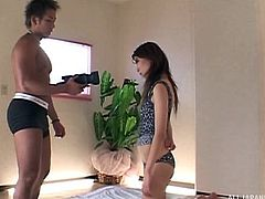 This kitten wants to play! Aki Katase's provocative attitude is enough to turn on her lustful partner... Click to watch the naughty milf showing her adorable big tits. Enjoy the sexy details and don't miss the inciting blowjob scene!