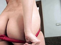 With smooth twat is full of desire to fuck herself with toy