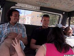 A horny brunette with a huge love for sucking cocks is going to suck on three, long peckers in the bus. The just picked her up and showed her their dongs. She was powerless