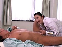 Very naughty nurse gives her patient a sexy rimjob