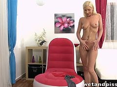 Beautiful blondie Vanessa Hell is soaked in her own delicious piss
