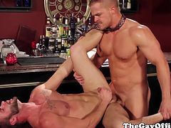 Muscled office hunks assfucking after drinks