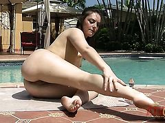Brunette Nikki Lavay with tiny tities and smooth beaver cant live a day without playing with herself