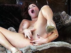 Sabrina Maree with juicy tits and hairless bush shows nice solo tricks with her new dildo