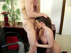 Hot babe Brooklyn, likes it when her man gives her a head. She is a horny little bitch, who loves giving blowjobs and getting her pussy licked. This sexy slut passionately takes his man's dick in her mouth and swallows it deep. His dick is now hard and hot, and ready to enter her shaven pink pussy.