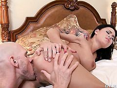 Johnny Sins makes his hard meat stick disappear in breathtakingly hot Eva Angelinas vagina
