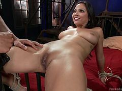 Adrianna doesn't seem scared of the horny man, who has strongly tied her with rope. This naked slut appears to be rather excited, as the guy fingers her hot cunt with lascivious movements. Watch the attractive brunette, spreading legs widely and getting pounded hard!