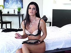 Eager to learn some new tips from a naughty versed milf? This experienced brunette bitch with long black hair, is determined to share her thoughts about how to please a guy... India Summer looks so hot, wearing that sexy lingerie!