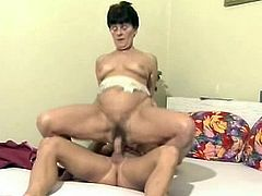 Fucking and teasing a Russian older woman's hairy cunt