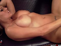 Charisma Cappelli, teases her big tits with the Hotgvibe before she uses the sex toy on her pussy and ass, indulging in a little double penetration until she has a sweltering hot orgasm.