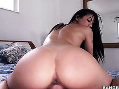 Small tits Latina is riding dick