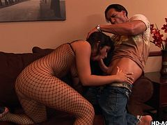 Slutty Leah Jaye looks so provocative, wearing that kinky fishnet outfit. Her muscled horny partner oils her crazy ass, making it even more tempting. Click to watch this brunette busty babe, sucking his hard dick on her knees. Then, she rides him, sliding up and down easily.