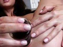 Emily Addison with massive tits and bald snatch fingering her love tunnel