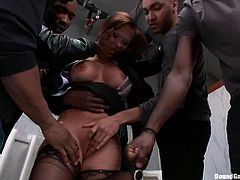 An elegant lady gets used by a horny gang of black horny guys. She cannot escape them, as they all grab her arms and begin to rip off her clothes, with lascivious movements. See busty Katja awfully mouth fucked, while another man stuffs his dick in the milf's cunt from behind, in the same time. Have fun!