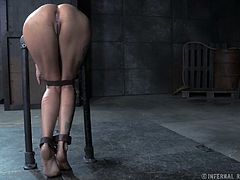 Busty blonde hoe is restrained and screwed bad in BDSM fuck video