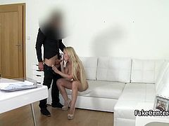 Shy housewife fucked at casting